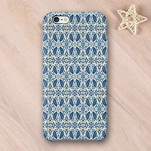 - Yellow and Blue Elegant Compatible with iPhone Case,Portuguese Traditional Tiles Abstract Mosaic Floral Swirl Motifs Decorative Compatible with iPhone 6/6s,iPhone 6/6s