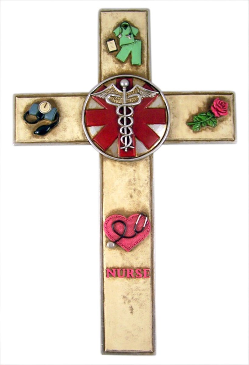 Deleon Everyday Heros Hanging Wall Cross Decoration, 11 3/4 Inch (Nurse)