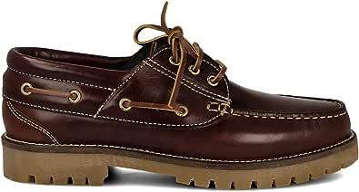 PAYMA - Zapatos Náuticos Timber de Piel Seahorse Engrasada. Hombre, Mujer, Niño. Hecho en ESPAÑA. 3-Ojales. Piso Caramelo, Negro o Goma Track. Colores Marrón, Azul Marino o Negro. Cordones o Velcro