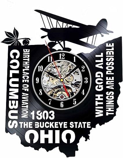 Ohio Gift USA States City Vinyl Record Clock Wall Decoration Modern Vintage Art Room