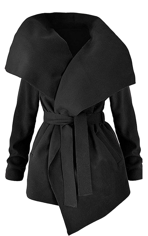 Women Fashion Winter Lapel Long Sleeve Jacket Long Trench Coat Pocket Outwear With Belt by Fantasy Star Dark Black (US 8-10)M