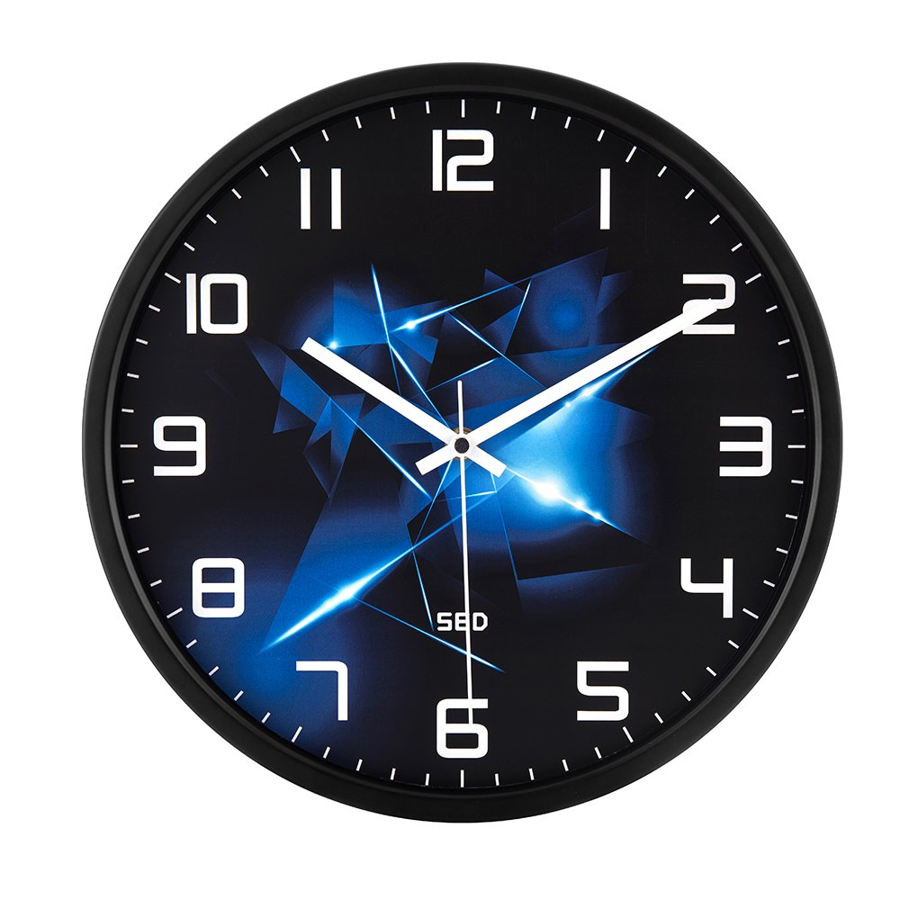Color Map-Black Wall Clock, 12 Inch Silent Non Ticking Quality Quartz Battery Operated Easy to Read Home/Office/School Clock, With Stoving Varnish Finished Metal Frame(Blue Flame,Black)