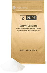 Pure Methylcellulose Powder (1 lb), 100% Pure and Contains No Emulsifiers or Mix-Aid Chemicals. Food Safe, Vegan-Friendly (Also Available in 2.5 oz & 25 lbs)