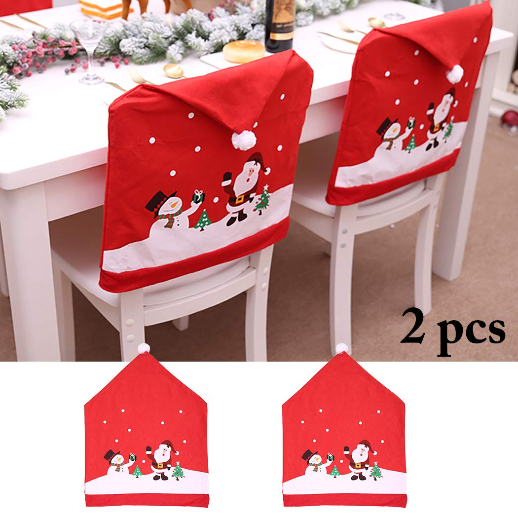 Justdolife Christmas Chair Cover Santa Snowman Printing Chair Cover