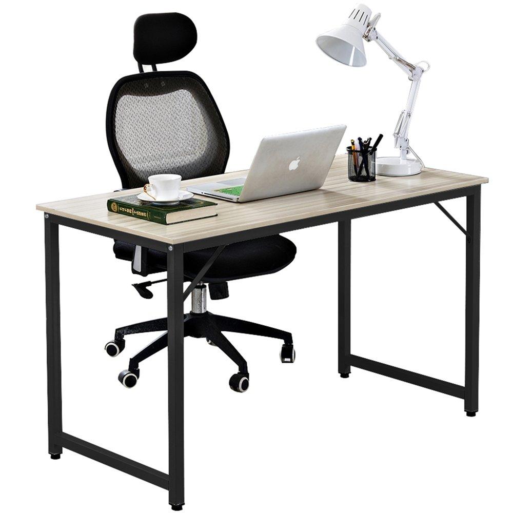 DlandHome 47'' Medium Computer Desk, Composite Wood Board, Modern Home Office Desk/Workstation/ Table, JJ-120MB Maple & Black Legs, 1 Pack (New Packaging)