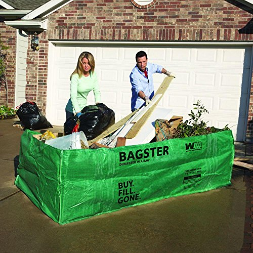 WM Bagster 606-Gallon Capacity Dumpster In A Bag, Can Fit Up To 3,300 Lbs. [4 Ft. W X 2.5 Ft. H X 8 Ft. D]