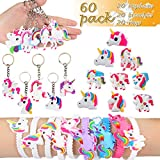Aitey Unicorn Party Favors, Unicorn Bracelets, Rings and Keychains, Rainbow Unicorn Birthday Party Supplies Set Novelty Toys for Kids and Girls (60 Packs)