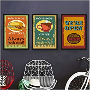 FGHJF Nordic Decorative Canvas Painting Cartoon Food Posters Beer Sauces Omelette Coffee Desserts and Appetizers for Kitchen 40x60cmx3 Frameless Wall Art Tableaux Muraux