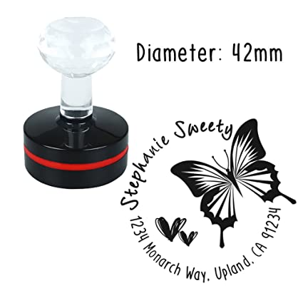 Personalized Custom Stamp Round Butterfly Sweet Heart Love Design Self Inking Flash Rubber Return Address