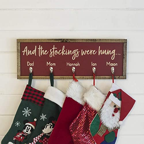 06d135d2c22 Personalized Christmas Stocking Holder - Farmhouse Stocking Holder - Personalized  Stocking Holders For Mantel - Rustic Stocking Hangers - Family Christmas ...