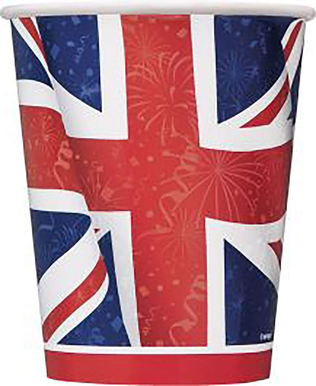 DIGITAL SPOT Britain Union Jack 9 Oz Cups Party Paper Cups British Fancy Royal Wedding Party