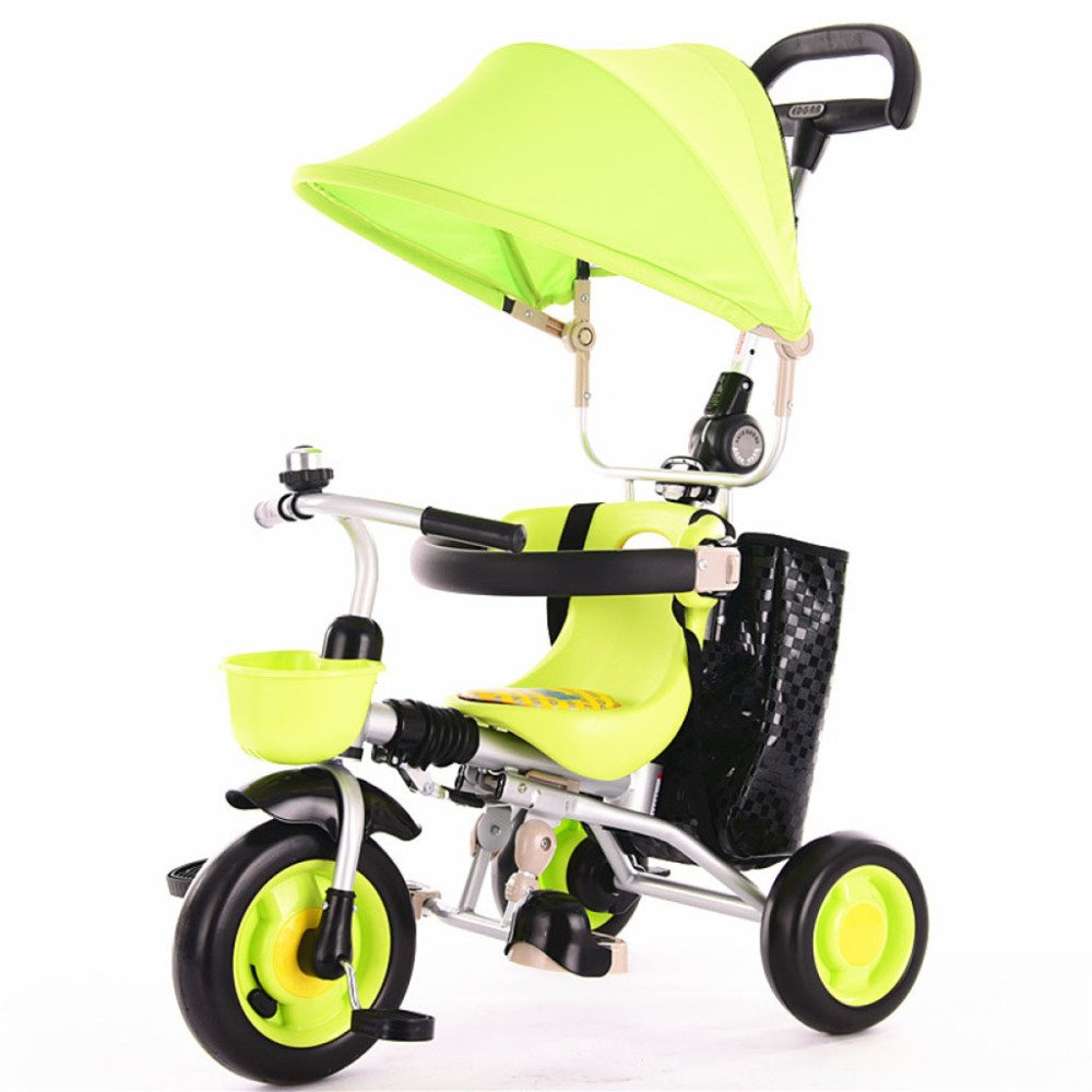 despacho de tienda verde QXMEI Triciclo Infantil Trolley Trolley Trolley Portátil Plegable con Toldo Bicicleta Bebé Bici Carrito De Bebé De 1 A 5 Años,verde  orden ahora con gran descuento y entrega gratuita