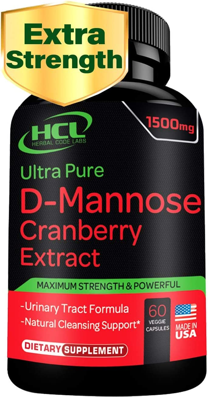 DMannose with Cranberry Extract Capsules – Super Strength 1000mg of Pure Powder 500 mg of Whole Cranberries Concentrate UTI Treatment Urinary Tract Infection Prevention Bladder Health Pills