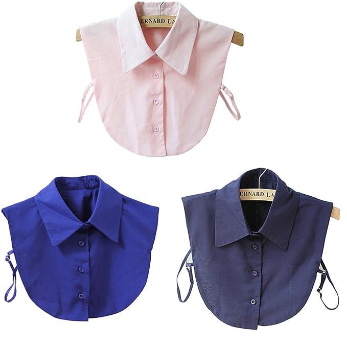5892216afdf YAKEFJ 3Pcs Fake Collar Detachable Dickey Collar Blouse Half Shirts ...