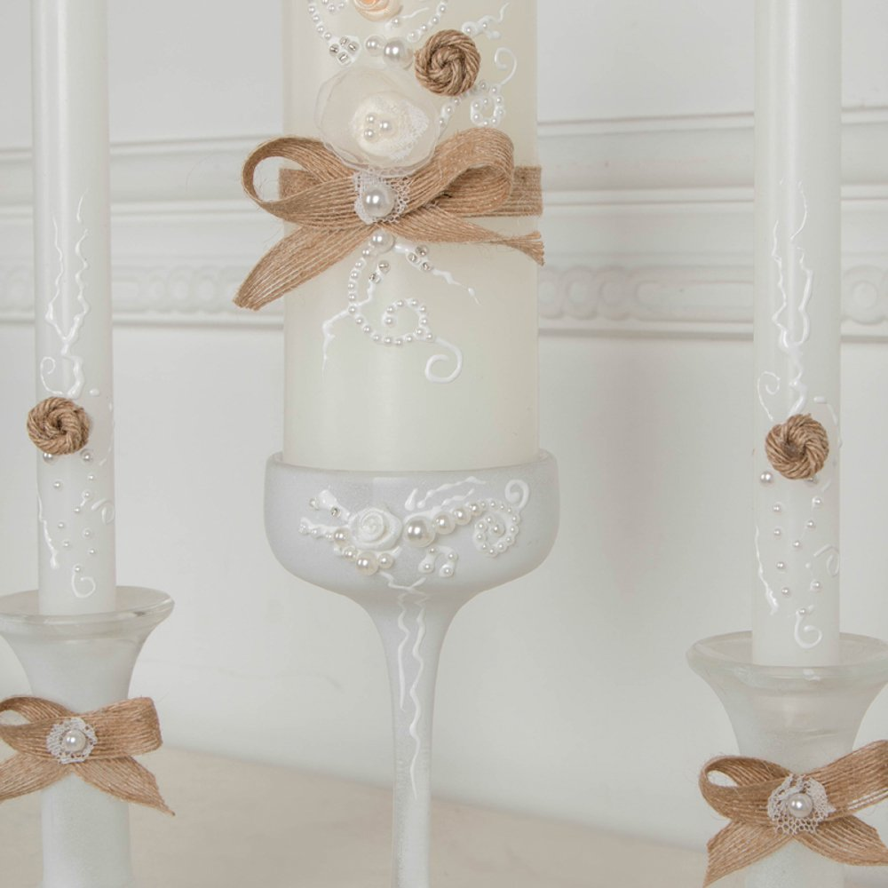 OKSLO Handmade Burlap Wedding Unity Candle Set In Ivory, Rustic Ceremony Candles perso