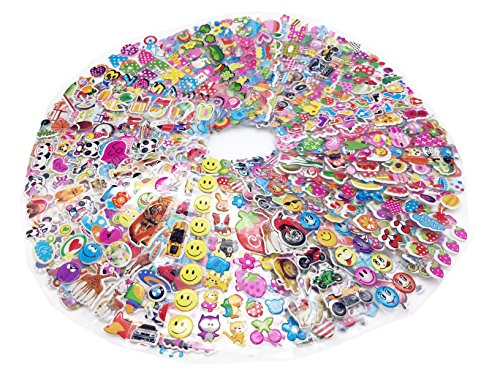 3D Puffy 1300+ Sticker Mega Variety Pack, 55 Different Sheets of Puffy Kids Stickers, Including Animals, Fish, Cars, Letters, Numbers, Fruit, Vegetables,Flowers, Smiley Faces and Lots More!