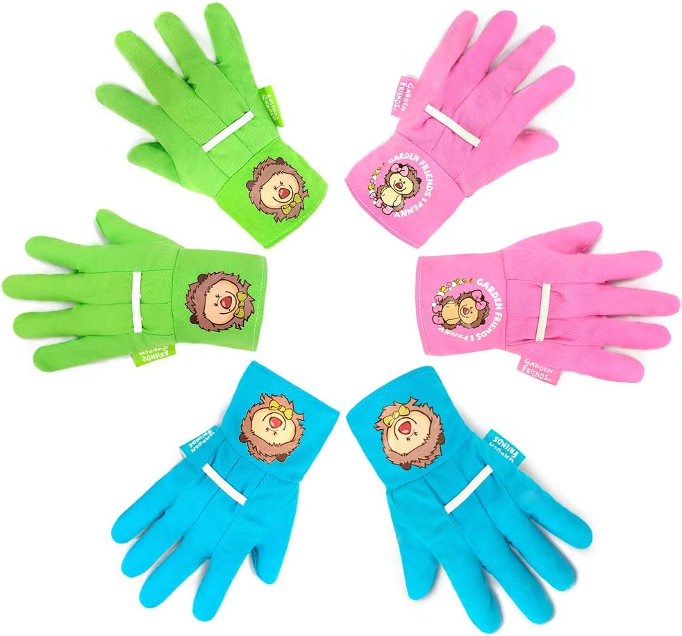PINK SIZE XS age 5//7 Childrens Palm Coated Gloves Buds Kids Gardening Gloves