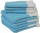 Set of 6 Turkish Cotton Bath Beach Spa Sauna Hammam Yoga Gym Hamam Hand Towel Fouta Peshtemal Pestemal Blanket - 6 Turquoise