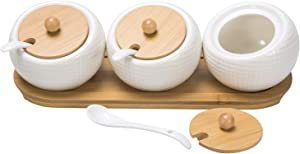 MyGift Modern White Dimpled Ceramic & Natural Bamboo Home Kitchen Spice, Condiment Jars with Spoons, Lids, Serving Tray