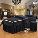 AMY Massage Table Sheet Sets Spa Beauty Bed Cover, Beauty Bedspreads European Solid Color Salon Spa Massage Bed Cover Black-Black 70x190cm(28x75inch)