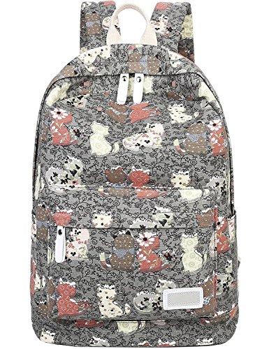 - Myosotis510 Lightweight Canvas Preppy Style Cute Cat School Backpack Laptop Bag for Girls