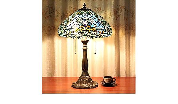 Europea Tiffany Lámpara de mesa de 16 pulgadas azul barroco de la ...