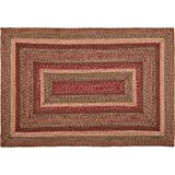 VHC Brands 45601 Burgundy Red Primitive Country Flooring Cider Mill Jute Rug, 48 x 72, Non-Stenciled