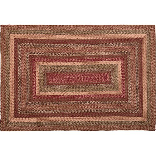 VHC Brands 45601 Burgundy Red Primitive Country Flooring Cider Mill Jute Rug, 48x72 ()