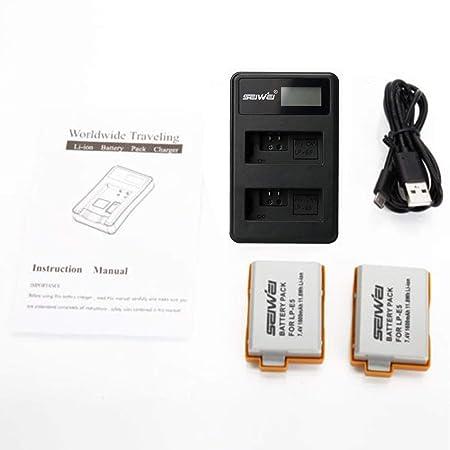 Dailyinshop 2 x LP-E5 1080mAh Batería LCD USB Kit de ...