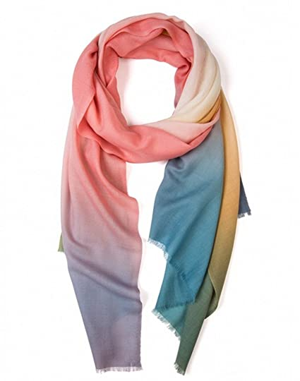 653ac730f Prettystern - XXL wool scarf 200cm soft silky fine fibers batik optics  rainbow pastel Fringes pashmina: Amazon.co.uk: Clothing