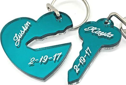 Amazon.com: Llavero con forma de corazón y llave para pareja ...