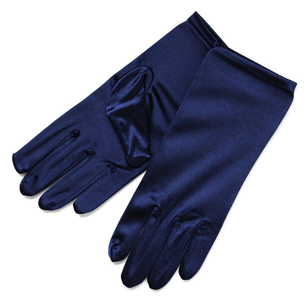 ZaZa Bridal Shiny Stretch Satin Dress Gloves Wrist Length 2BL-Dark Navy