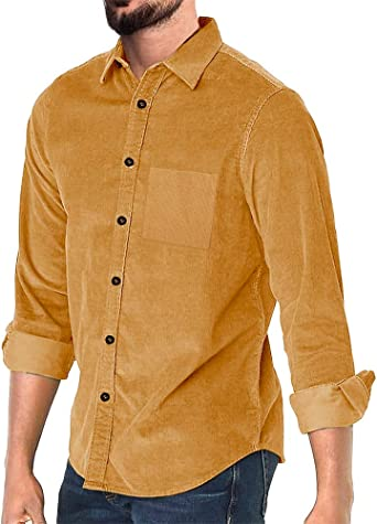 Enjoybuy Mens Corduroy Shirt Regular Fit Long Sleeve Vintage Casual Solid Plain Button Down Shirt At Amazon Men S Clothing Store