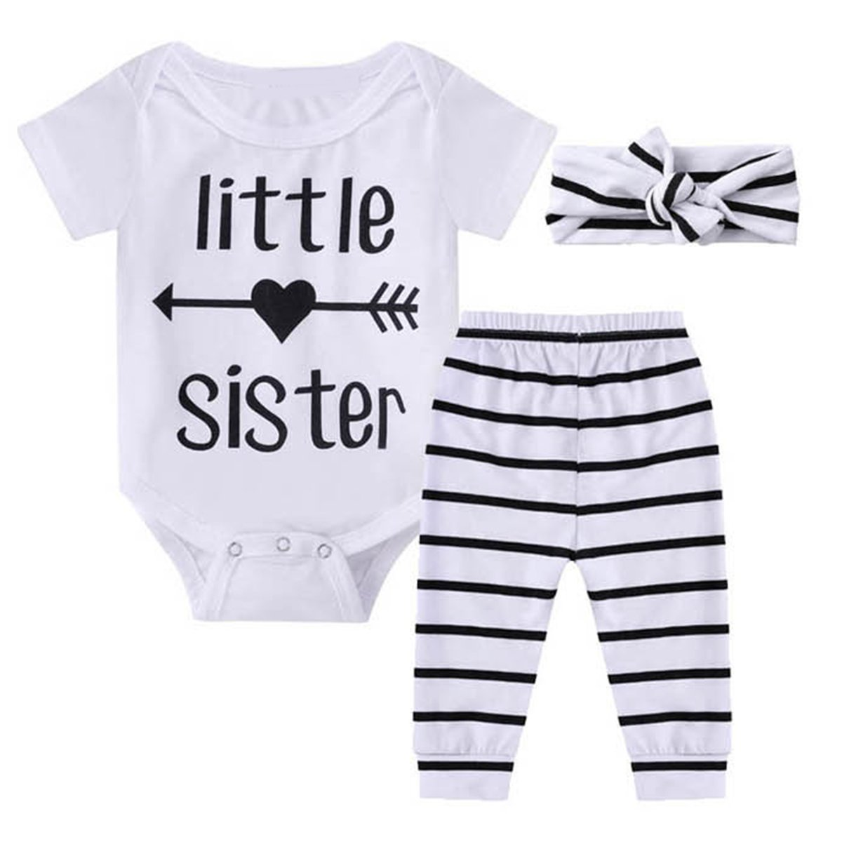 Puseky Baby Girls Little Sister Romper Bodysuit+Long Pants+Headband Outfits Clothes Set 0-6 Months, White+Stripe