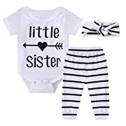 Ant-Kinds 0-18M Infant Newborn Baby Girl Arrow Romper + Long Pants + Headband Layette Set (3-6M, Arrow+Stripe)