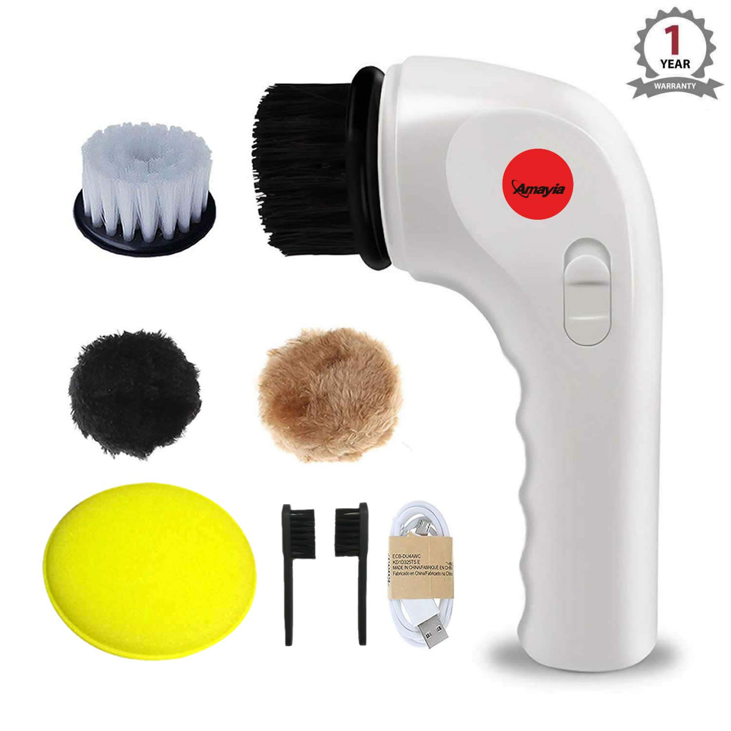 Portable Electric Clean Polisher, Amayia Handheld Automatic Electric Shoe Brush Shine Polisher with USB Interface, Electric Cleaning Tool Brush for Leather, Bag, Car Seat, Shoe, Dishes