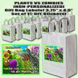 "Plants vs Zombies Video Game Party Favors Supplies Decorations Gift Bag Label STICKERS ONLY 3.75"" x 4.75"" -12 pcs"