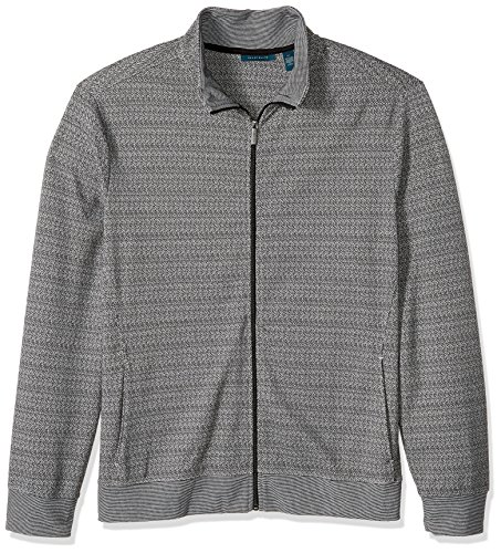 Perry Ellis Men's Jacquard Pattern Full Zip Knit Jacket, Black, Medium