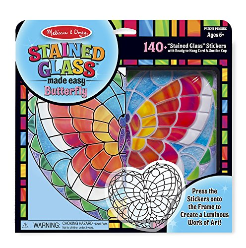 Melissa & Doug Stained Glass Made Easy Activity Kit: Butterfly - 140+ Stickers - Stained Glass Art