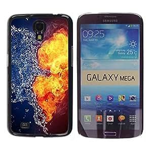 Caucho caso de Shell duro de la cubierta de accesorios de protección BY RAYDREAMMM - Samsung Galaxy Mega 6.3 I9200 SGH-i527 - Fire Water Yin Yang Opposing Explosion