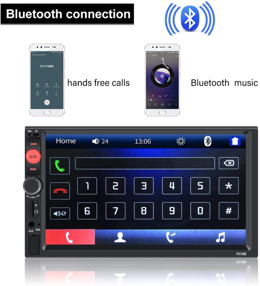 KKLUSB 7 inch Double Din Touch Screen Car Stereo Upgrade The Latest Version MP5//4//3 Player FM Radio Video Support Backup Rear-View Camera Mirror Link