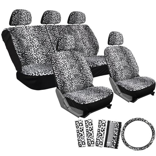 OxGord 17pc Set Leopard Animal Print Auto Seat Covers Set - Front Low Back Buckets - Rear Split Bench - Snow White (Seat Covers Animal Print)