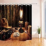 CdHBH Cowboy Farm Hat Decor Kerosene Lamp and Poker on Wooden Desk in House Shower Curtain Polyester Fabric Waterproof Bath Curtain 71X71 in Shower Curtains Hooks Included Brown