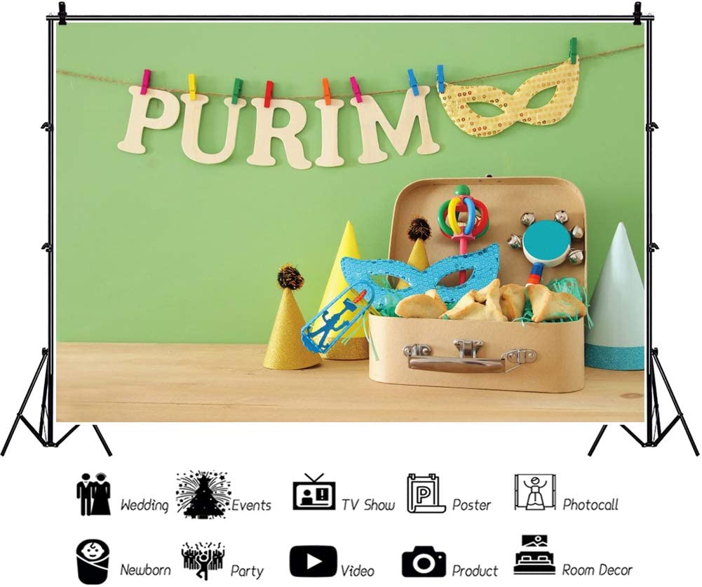 DORCEV 8x6ft Happy Purim Backdrop Carnival Mask Costume Party Photography Background Festival Hat Mask Toys Jewish Holiday Celebration Party Banner Wallpaper Kid Adult Portrait Photo Studio Props