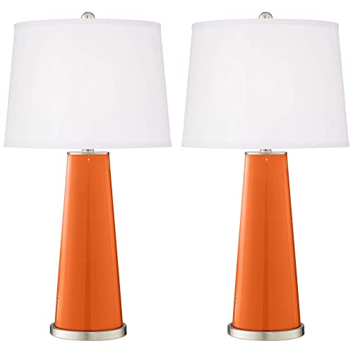 Leo Modern Table Lamps Set of 2 Invigorate Orange Glass Tapered Column White Drum Shade for Living Room Family Office – Color Plus