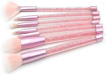 Beito 7 pinceles de maquillaje con brillo, pinceles de resaltador profesional, corrector, Kit de brochas de maquillaje Pincel con purpurina y purpurina(Mango Rosa + Pelo Rosa): Amazon.es: Belleza