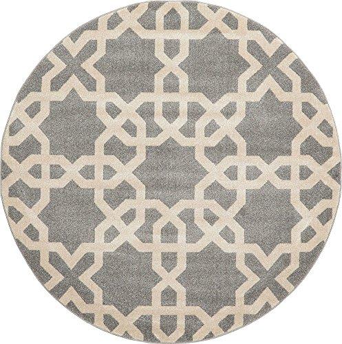 - Unique Loom Trellis Collection Geometric Modern Gray Round Rug (6' 0 x 6' 0)