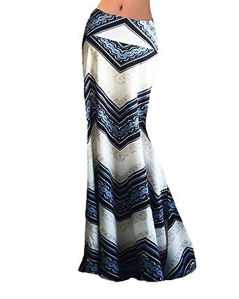 bb8581de624877 DianShao Jupe Longue Femme Crayon Imprimé Floral Maxi Jupe Elastique Taille  Haute Boheme