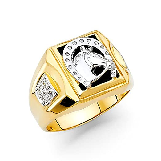 14k Yellow Gold Lucky Horse Shoe yx Men s Ring Amazon