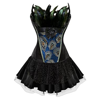 d36cbf609a8 Image Unavailable. Image not available for. Color  EbuyChX Plus Size Two  Piece Corset Dress with Feather Black 5XL